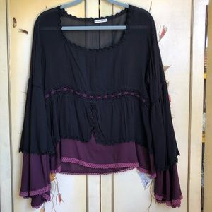 French Boho Peasant Top Flared Sleeves Steampunk
